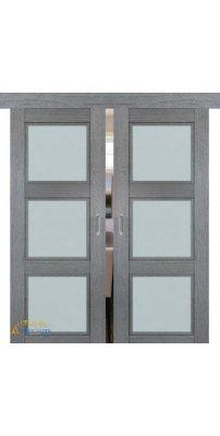 Двойная раздвижная дверь 2.27XN грувд, стекло матовое