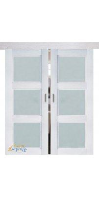 Двойная раздвижная дверь 2.27XN монблан, стекло матовое
