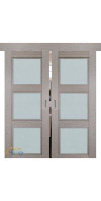 Двойная раздвижная дверь 2.27XN стоун, стекло матовое