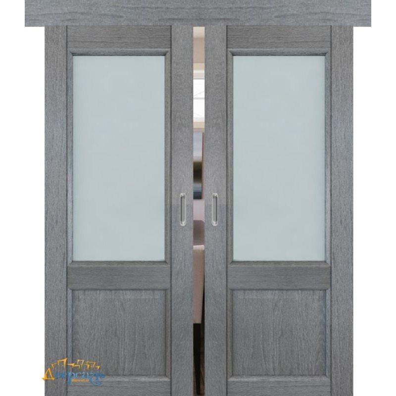 Двойная раздвижная дверь 2.42XN грувд, стекло матовое