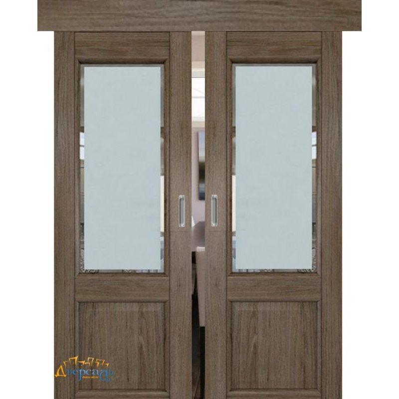 Двойная раздвижная дверь 2.42XN солинас темный, стекло square