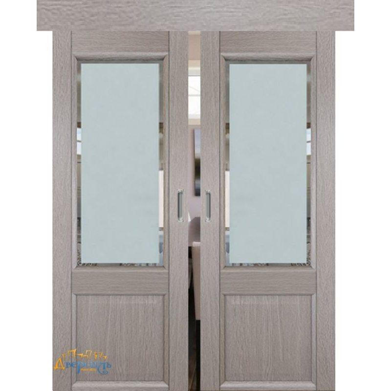 Двойная раздвижная дверь 2.42XN стоун, стекло square матовое