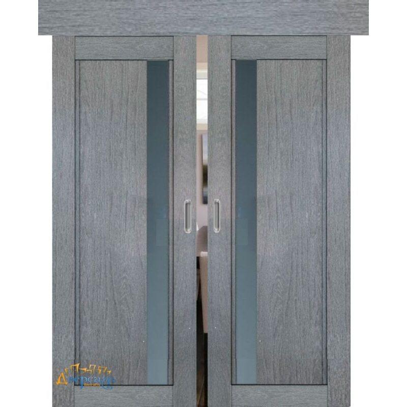 Двойная раздвижная дверь 2.71XN грувд , стекло графит