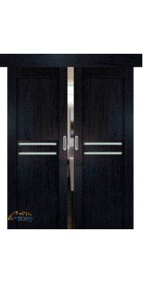 Двойная раздвижная дверь 2.75XN даркбраун, стекло матовое