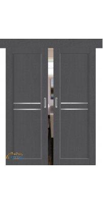 Двойная раздвижная дверь 2.75XN грувд, стекло графит