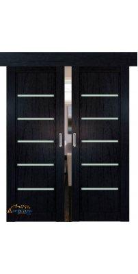 Двойная раздвижная дверь 2.76XN даркбраун, стекло матовое