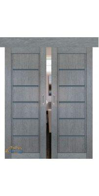 Двойная раздвижная дверь 2.76XN грувд, стекло графит
