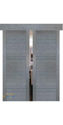 Двойная раздвижная дверь 2.80XN грувд, стекло графит