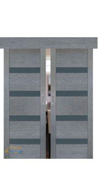 Двойная раздвижная дверь 2.81XN грувд, стекло графит