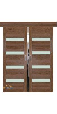 Двойная раздвижная дверь 2.81XN солинас темный, стекло матовое