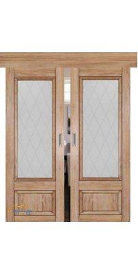 Двойная раздвижная дверь 2.90XN солинас светлый, стекло крупный ромб