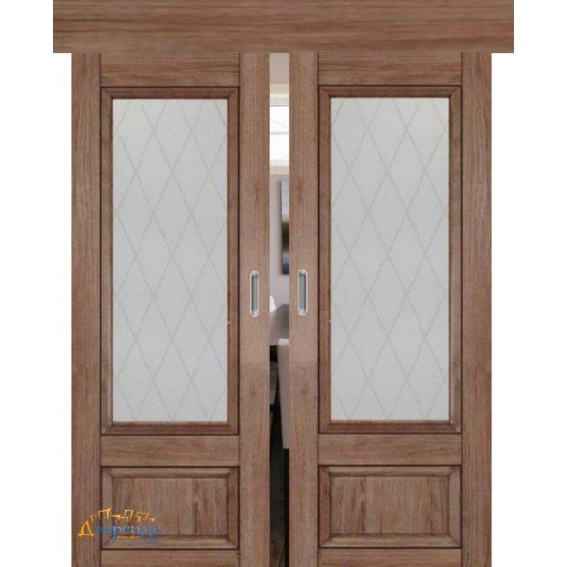 Двойная раздвижная дверь 2.90XN солинас темный, стекло крупный ромб