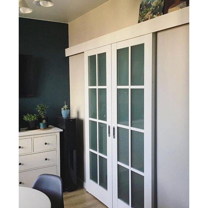 Двойная раздвижная дверь 101X пекан белый, стекло матовое