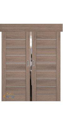 Двойная раздвижная дверь 98XN солинас темный, стекло матовое
