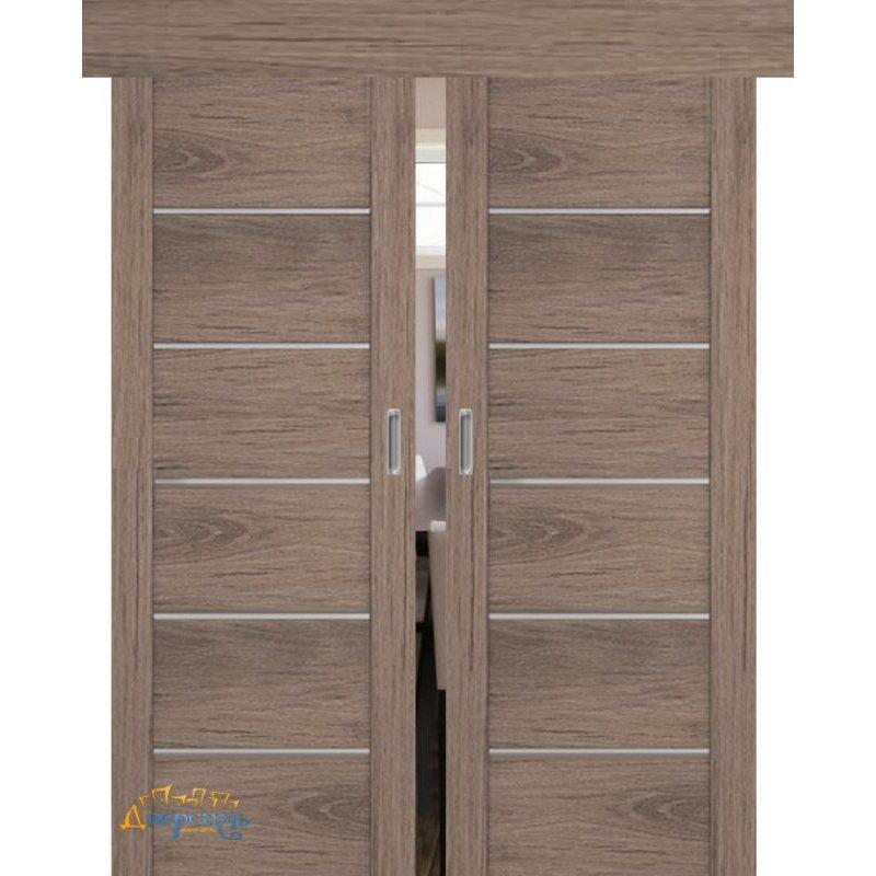 Двойная раздвижная дверь 99XN солинас тёмный, стекло матовое