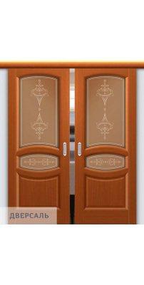 Двойная раздвижная дверь АНАСТАСИЯ тёмный анегри ПО
