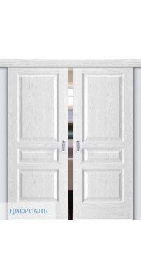 Двойная раздвижная дверь АТЛАНТ-2 ясень белая эмаль ПГ
