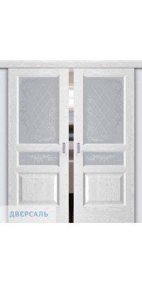 Двойная раздвижная дверь АТЛАНТ-2 ясень белая эмаль ПО