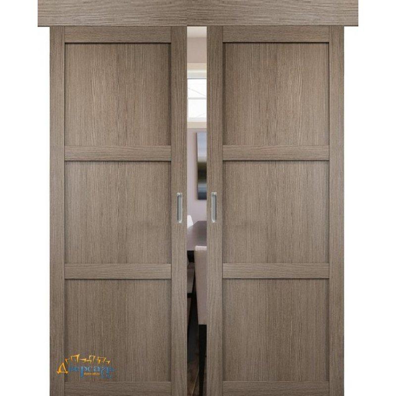 Двойная раздвижная дверь БАДЕН 01 дуб дымчатый ПГ