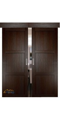 Двойная раздвижная дверь БАДЕН 01 дуб темный