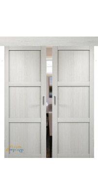 Двойная раздвижная дверь БАДЕН 01 слоновая кость ПГ