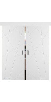 Двойная раздвижная дверь ФЛИТТА белая эмаль ПГ