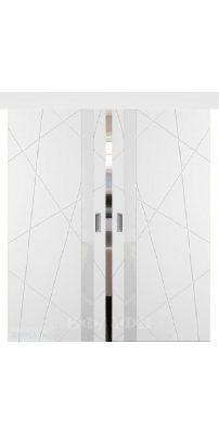 Двойная раздвижная дверь ФЛИТТА белая эмаль ПО
