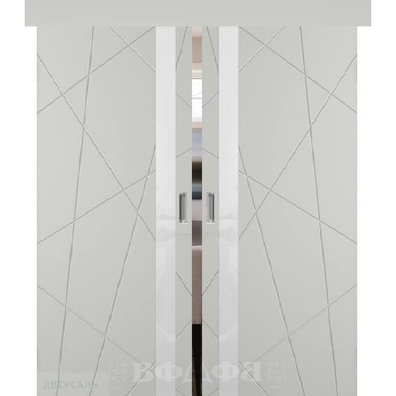 Двойная раздвижная дверь ФЛИТТА светло-серая эмаль ПО