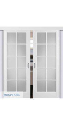 Двойная раздвижная дверь Гланта белая ПО