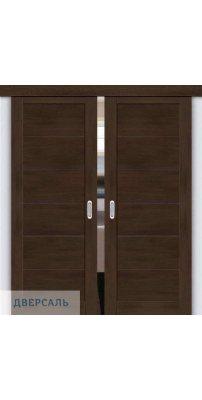 Двойная раздвижная дверь Легно-21 dark oak