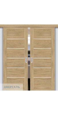 Двойная раздвижная дверь Легно-22 organic oak/magic fog