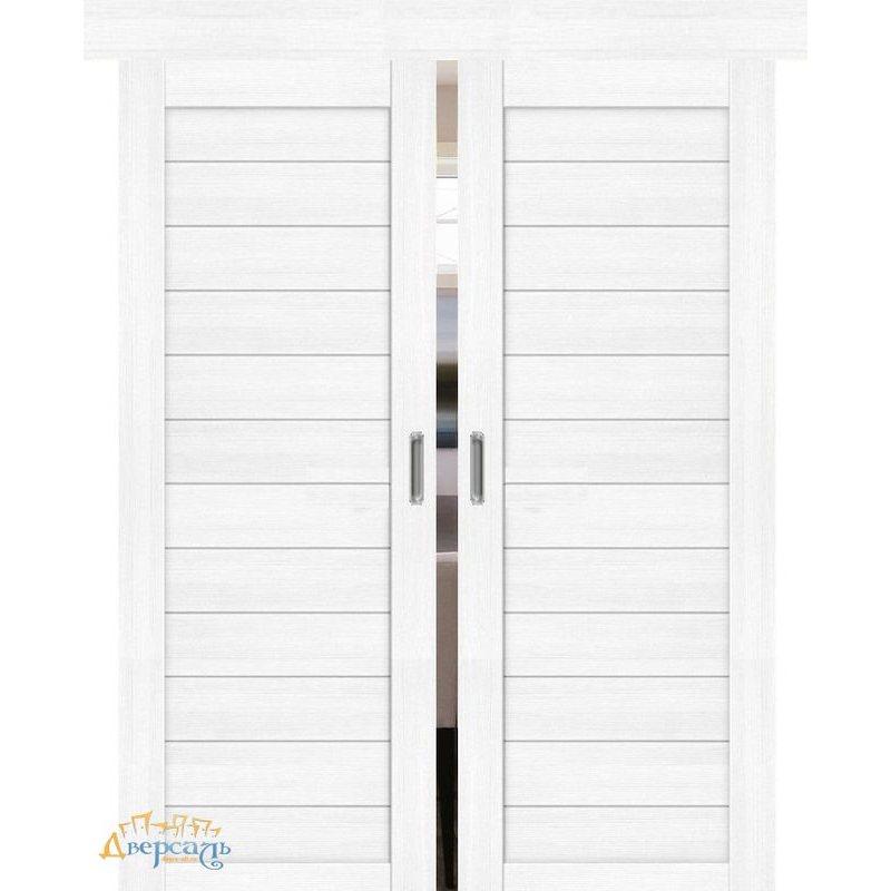 Двойная раздвижная дверь ПОРТА-21 snow veralinga