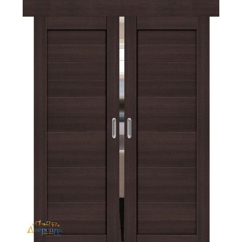 Двойная раздвижная дверь ПОРТА-21 wenge veralinga
