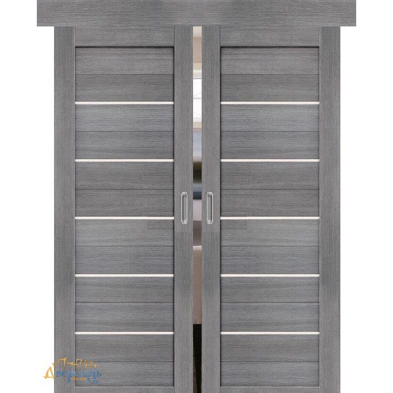 Двойная раздвижная дверь ПОРТА-22 grey veralinga
