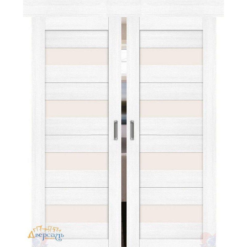 Двойная раздвижная дверь ПОРТА-23 snow veralinga