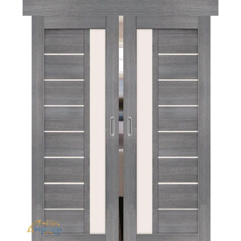 Двойная раздвижная дверь ПОРТА-27 grey veralinga