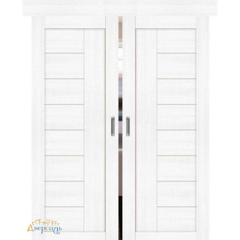 Двойная раздвижная дверь ПОРТА-29 snow veralinga