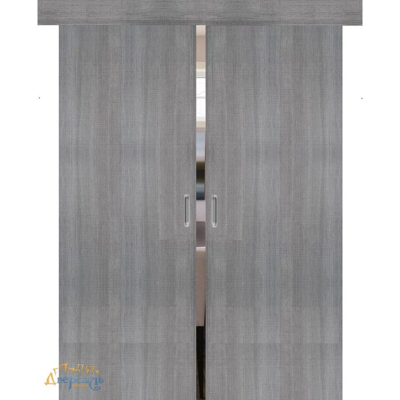 Двойная раздвижная дверь ПОРТА-50 grey crosscut