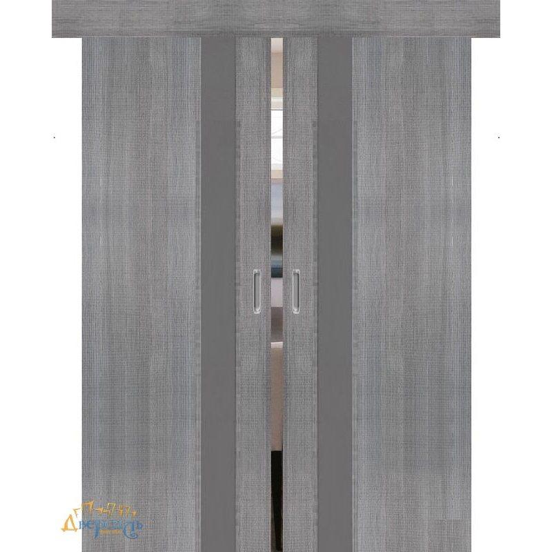 Двойная раздвижная дверь ПОРТА-51 grey crosscut S