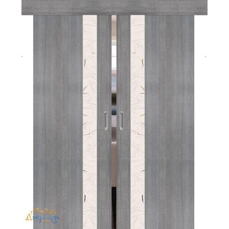 Двойная раздвижная дверь ПОРТА-51 grey crosscut SA
