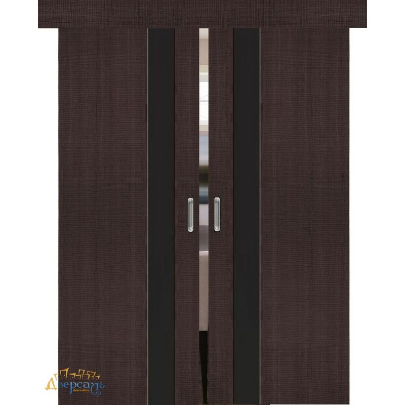 Двойная раздвижная дверь ПОРТА-51 wenge crosscut BS