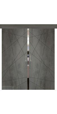 Двойная раздвижная дверь СЕВИЛЬЯ 26 бетон темный