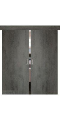 Двойная раздвижная дверь СЕВИЛЬЯ 32 бетон темный
