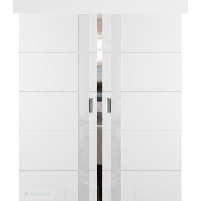 Двойная раздвижная дверь ТРИВИА белая эмаль ПО