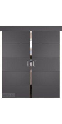 Двойная раздвижная дверь ТРИВИА графит ПГ