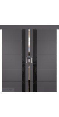 Двойная раздвижная дверь ТРИВИА графит ПО