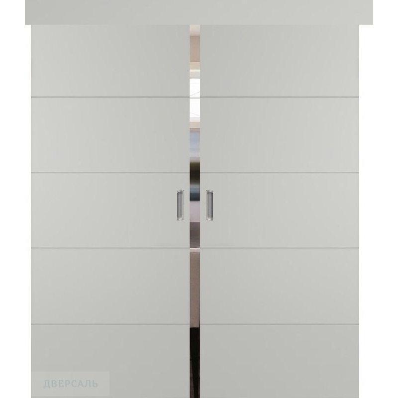 Двойная раздвижная дверь ТРИВИА светло-серая эмаль ПГ