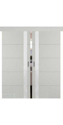 Двойная раздвижная дверь ТРИВИА светло-серая эмаль ПО