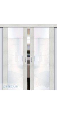 Двойная раздвижная дверь Vetro V4 bianco veralinga/white waltz