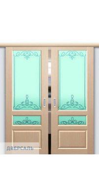Двойная раздвижная дверь ВАЛЕНТИЯ 2 беленый дуб ПО